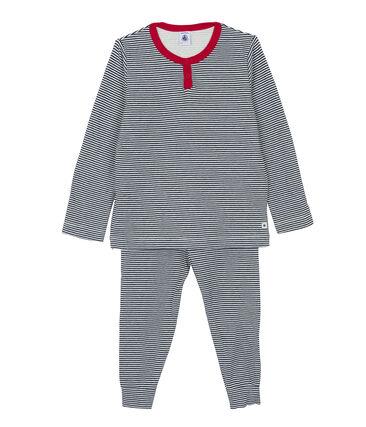 Pyjama für kleine Jungen weiss Marshmallow / blau Smoking