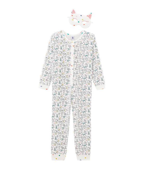 Langer Mädchen-Overall weiss Marshmallow / weiss Multico