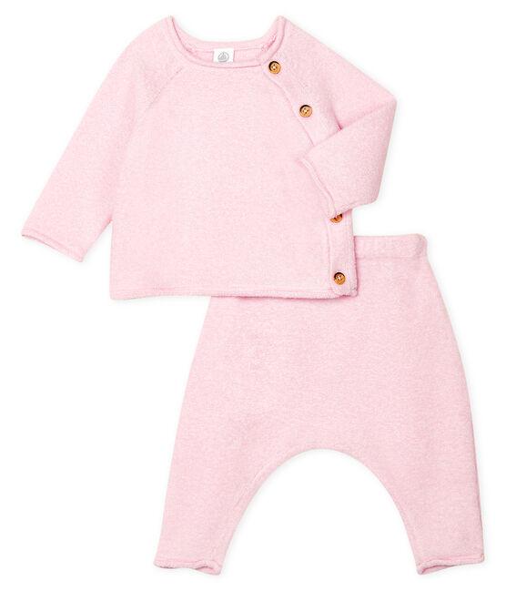 2-teiliges Baby-Set aus Baumwolle, Merinowolle und Polyester rosa Fleur