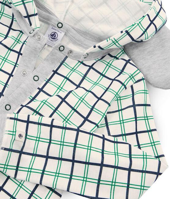 Langer Rippstrick-Overall für Jungen weiss Marshmallow / weiss Multico