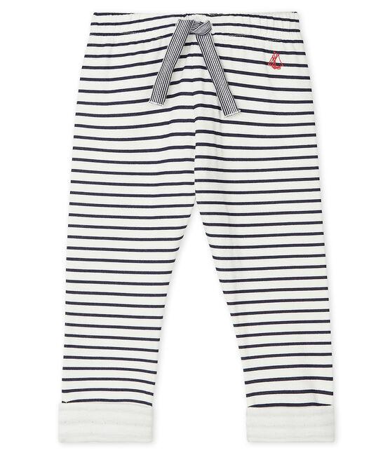 Baby-Hose aus bedrucktem Doppeljersey weiss Marshmallow / blau Smoking
