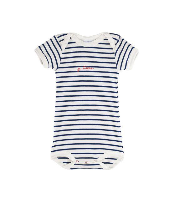 Kurzärmeliger Baby-Body für Mädchen - Jungen weiss Marshmallow / blau Medieval