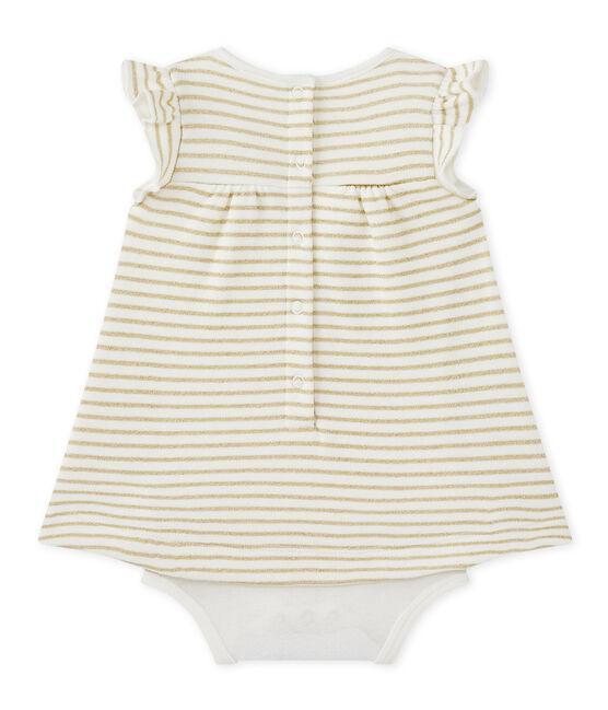 Baby-Mädchen-Bodykleid mit originellem Streifenmuster weiss Marshmallow / gelb Dore