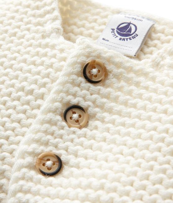 Unisex-Baby-Cardigan aus Wolle/Baumwolle weiss Lait
