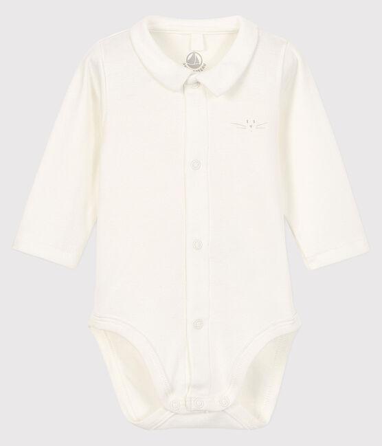 Langärmliger Babybody für Jungen weiss Marshmallow