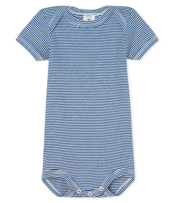 Kurzärmeliger Baby-Body für Jungen-Mädchen blau Limoges / weiss Marshmallow
