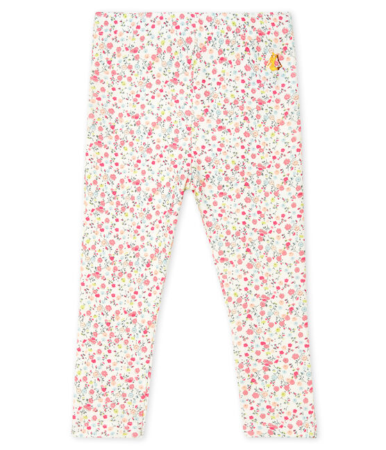 Bedruckte Baby-Mädchen-Leggings weiss Marshmallow / weiss Multico