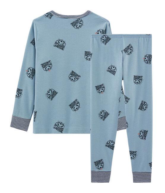 Rippstrick-Pyjama für kleine Jungen blau Acier / weiss Multico