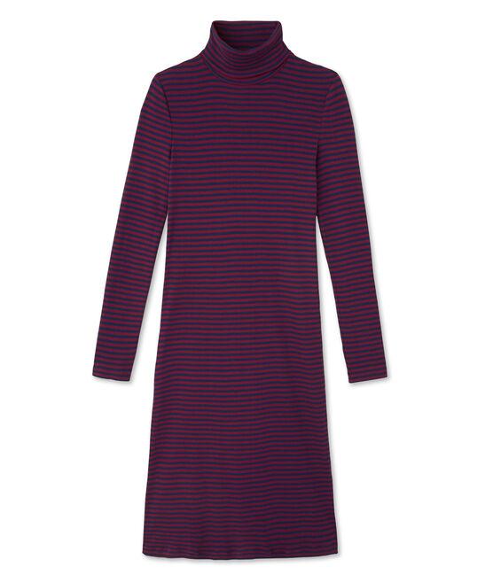 Gestreiftes Damen-Kleid mit Rollkragen aus ultra-leichter Baumwolle rot Clafouti / blau Medieval