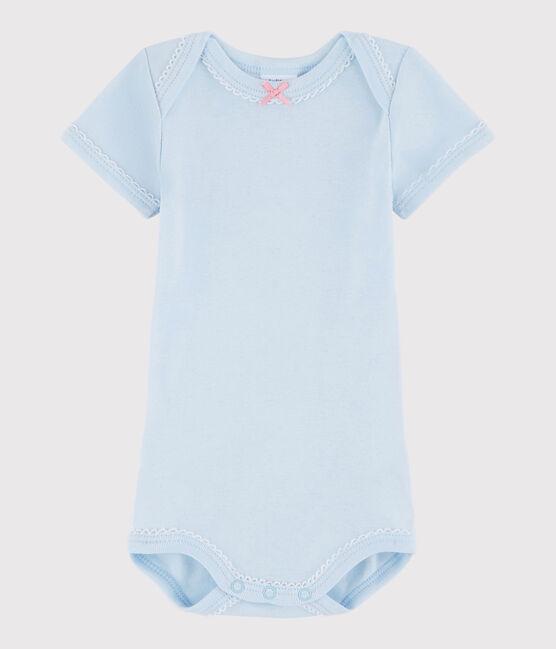 Kurzärmeliger Baby-Body Mädchen blau Fraicheur