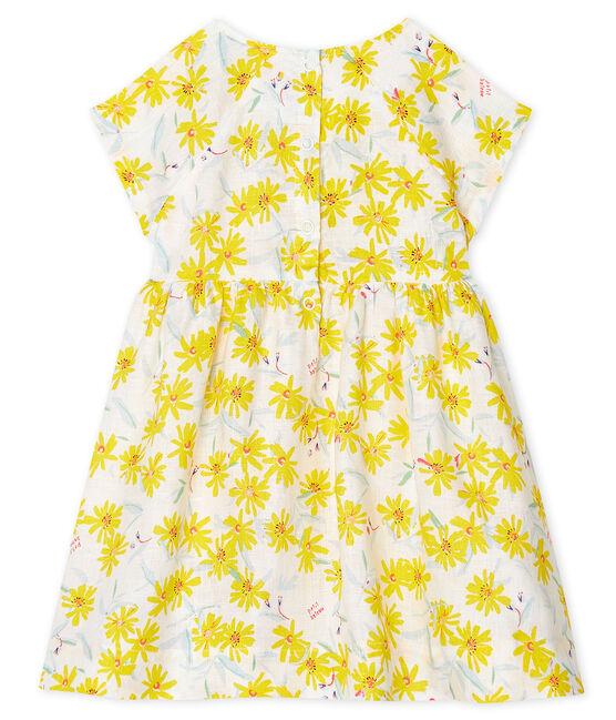 Kurzärmeliges Babykleid aus Leinen für Mädchen weiss Marshmallow / weiss Multico