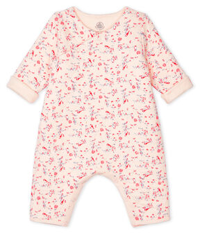 Langer Unisex-Baby-Overall aus Doppeljersey rosa Fleur / weiss Multico