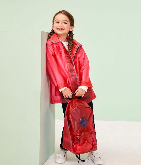 Kinder-Regenjacke für Mädchen und Jungen rot Geisha