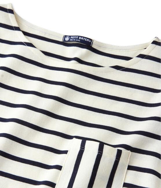 T-shirt femme manches longues en côte originale beige Coquille / blau Smoking