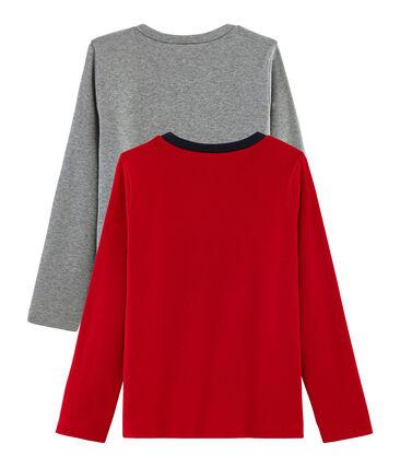 Set mit 2 T-Shirts für Jungen: mit Siebdruck + einfarbig