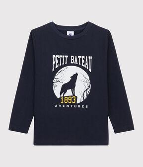 Kinder-T-Shirt mit Siebdruck für Jungen blau Smoking