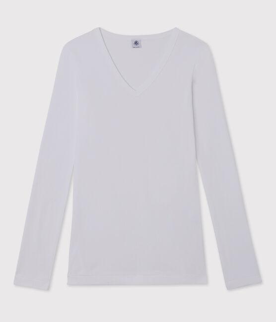 Damen-T-Shirt mit V-Ausschnitt weiss Ecume