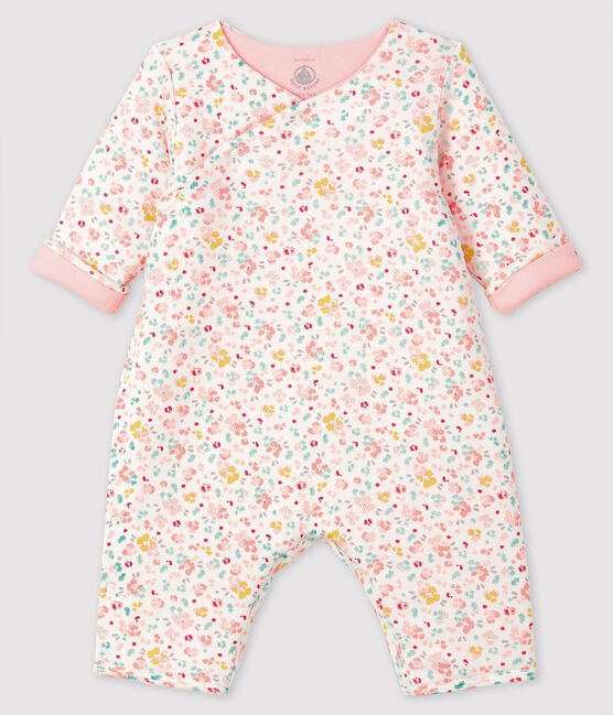 Langer Baby-Overall aus Rippstrick weiss Marshmallow / weiss Multico