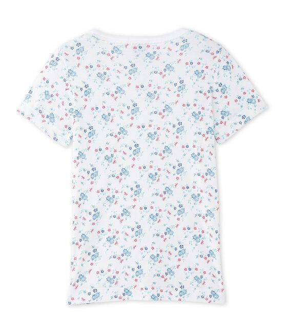 Bedrucktes Mädchen-Shirt weiss Ecume / blau Bleu