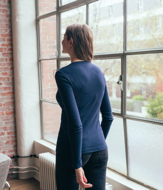 Emblematisches langärmliges T-Shirt für Damen blau Smoking