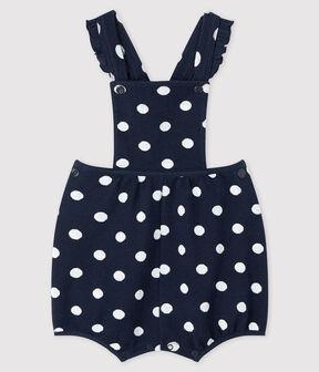 Kurze Baby-Latzhose für Mädchen mit Punkten blau Smoking / weiss Marshmallow