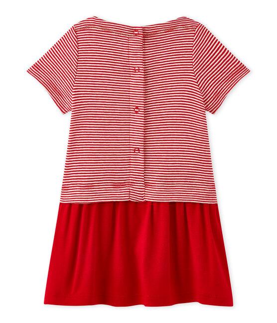 Baby-Mädchen-Kleid mit Milleraies-Ringelmuster rot Terkuit / weiss Marshmallow