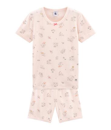 Sehr eng anliegender Rippstrick-Kurzpyjama für kleine Mädchen.