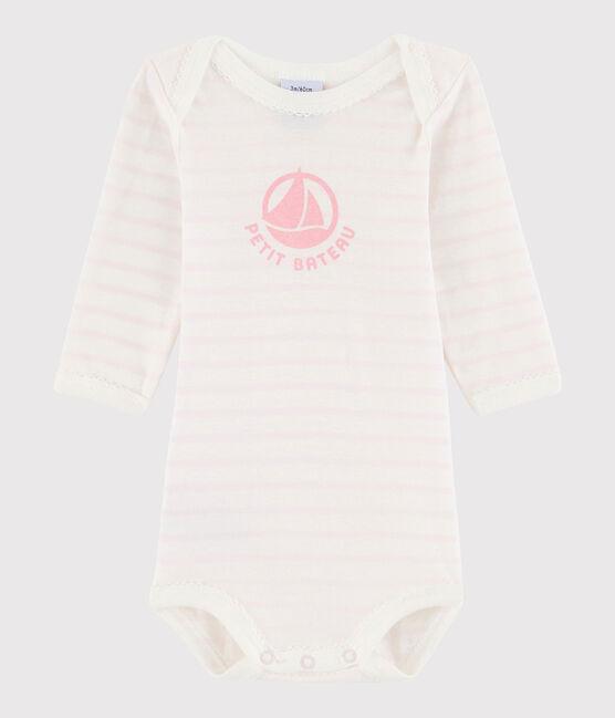 Langärmeliger Baby-Body Mädchen weiss Marshmallow / rosa Vienne