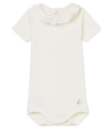 Baby-kurzarm-body mit breitem rüschenrg mädchen weiss Marshmallow