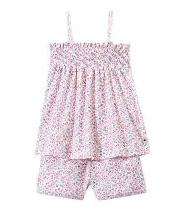 Kurzer gesmokter Mädchen-Schlafanzug mit Print