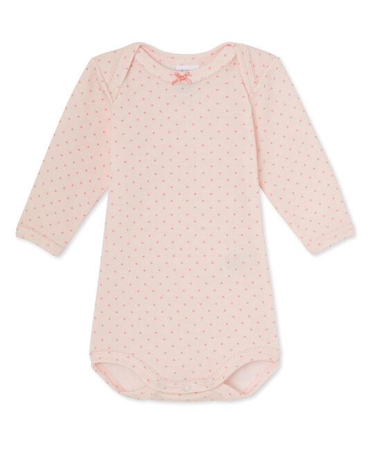 Langärmeliger Baby-Mädchen-Body aus Wolle/Baumwolle rosa Vienne / rosa Gretel