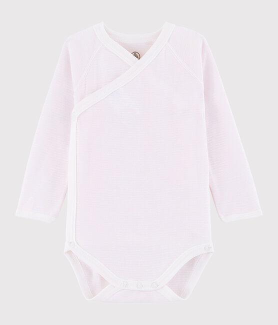 Langärmeliger Baby-Body in Wickelform Mädchen rosa Vienne / weiss Marshmallow