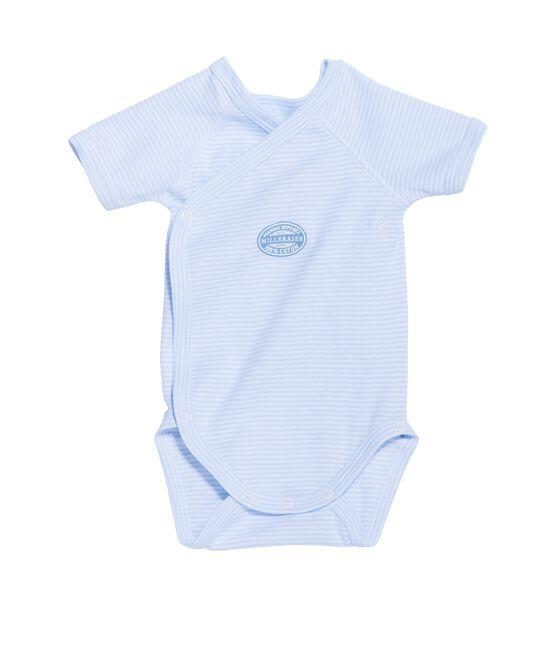 Wickelbody für Jungen, Kurzarm, geringelt blau Fraicheur / weiss Ecume