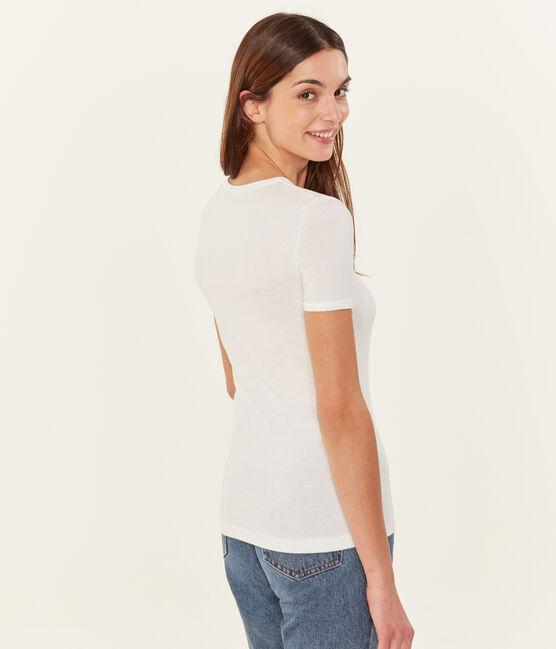 Einfarbiges kurzarm-t-shirt damen weiss Ecume