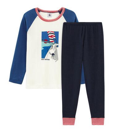 Rippstrick-Pyjama für kleine Jungen blau Smoking / weiss Multico