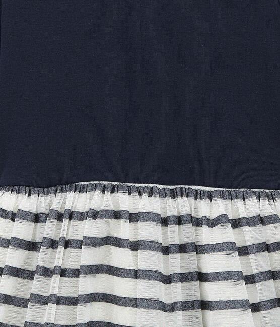 Glitzerndes Kleid im Material Mix weiss Marshmallow / blau Smoking Brillant