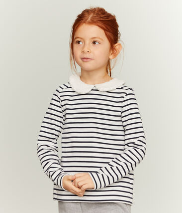 Langärmliges Streifenshirt für Mädchen weiss Marshmallow / blau Smoking
