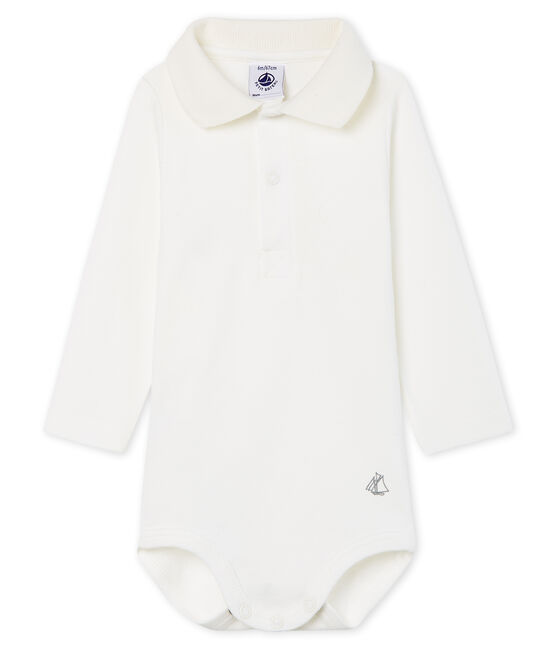 Langärmliger Baby-Body mit Polokragen für Jungen weiss Marshmallow