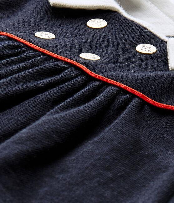 Ärmelloses Baby-Mädchen-Kleid aus gedoppeltem Jersey blau Smoking
