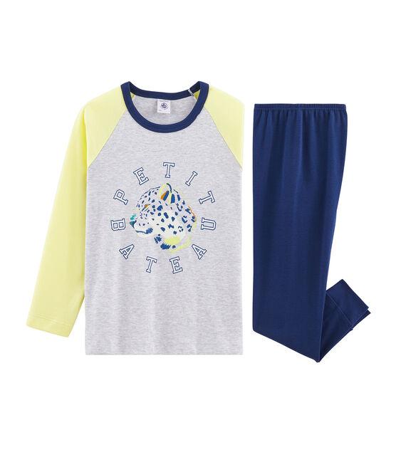 Rippstrick-Pyjama für kleine Jungen blau Medieval / weiss Multico