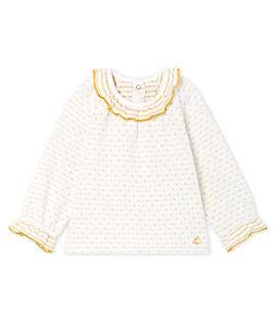 Langärmelige Baby-Bluse aus Jacquard-Doppeljersey für Mädchen.