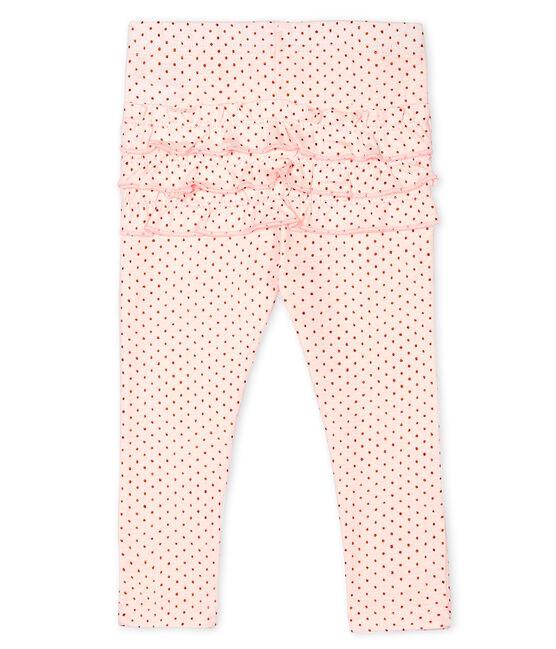 Bedruckte Baby-Mädchen-Leggings rosa Fleur / rosa Copper