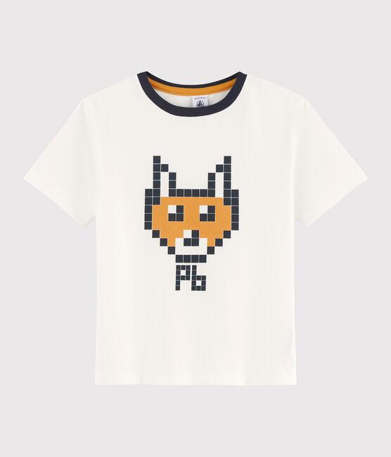 Kinder-T-Shirt mit Siebdruck für Jungen weiss Marshmallow