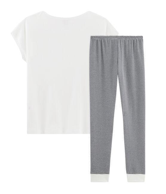 Pyjama für Damen aus Doppeljersey weiss Marshmallow / blau Smoking
