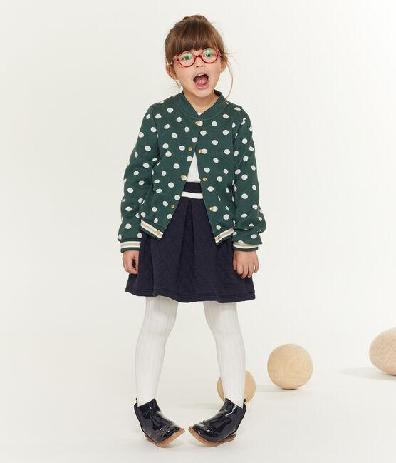 Gemusterter Kinder-Cardigan Mädchen grün Sousbois / weiss Marshmallow