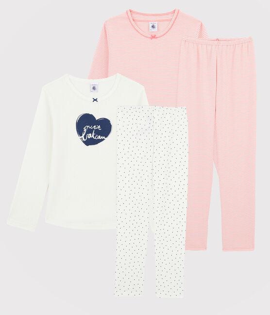 2er-Set Pyjamas mit Rippenstruktur für kleine Mädchen lot .