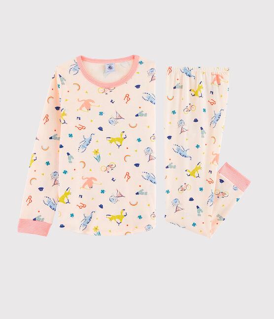 Rippstrick-Pyjama als rosarotes Flamingo-Kostüm für kleine Mädchen rosa Fleur / weiss Multico