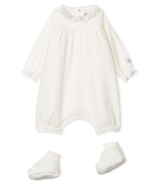 Set mit Overalls und Babyschuhen aus Wickeltuch-Stoff weiss Marshmallow