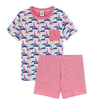 Rippstrick-Kurzpyjama für kleine Jungen weiss Marshmallow / weiss Multico