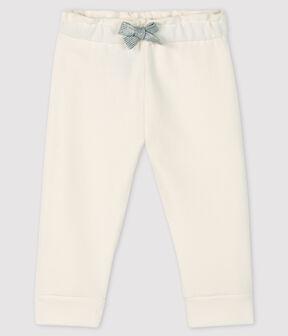 Baby-Leggings aus Molton für Mädchen weiss Marshmallow